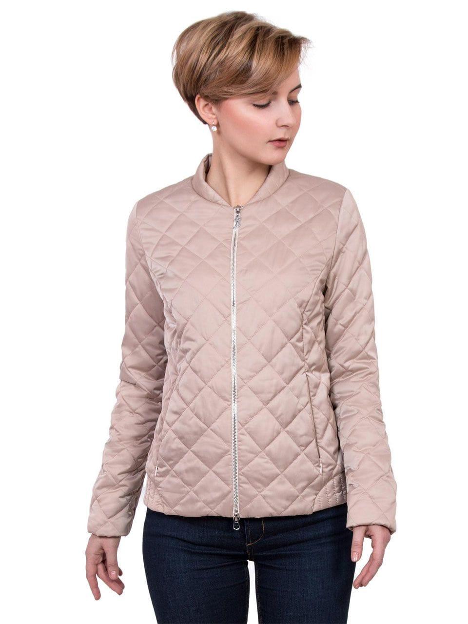 Короткая стёганая женская куртка цвета пудры J-Splash