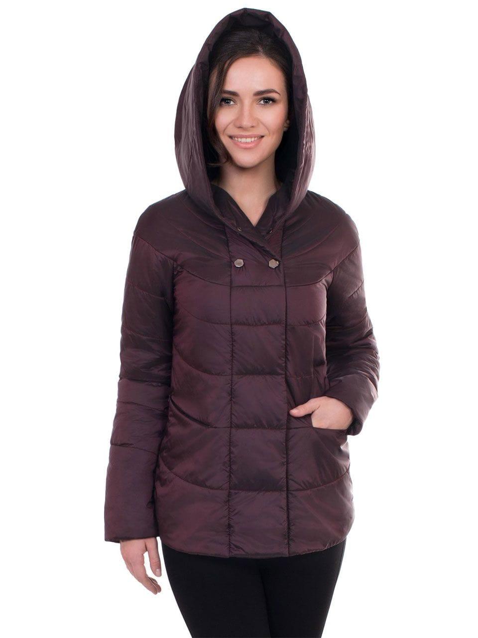Стильная весенняя женская куртка цвета баклажан J-Splash